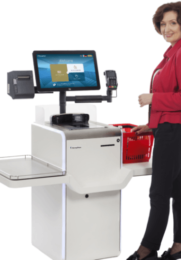 woman use selfcheckout system